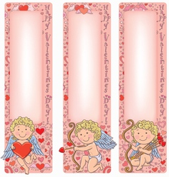 Valentines Day Cupid with vertical banners vector image