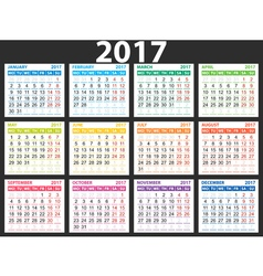 2017 simple calendar vector image