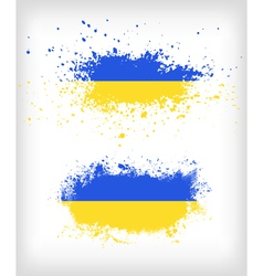 Grunge ukrainian ink splattered flag vector