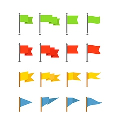 Different color flags collection isolated on white vector