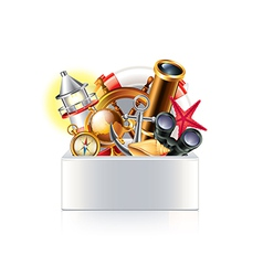 Nautical objects box isolated vector