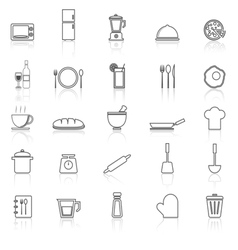 Kitchen line icons with reflect on white vector