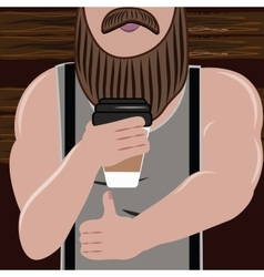 Sporty handsome man with a beard loves and drink vector