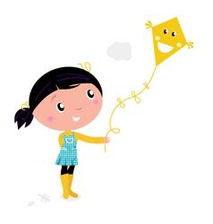 girl flying kite vector image