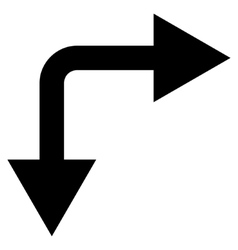 Bifurcation arrow right down flat icon vector