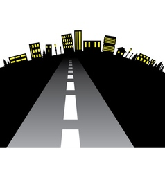 Road to city silhouette2 vector