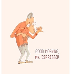 Mister espresso coffee vector