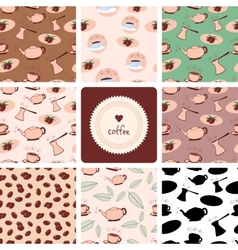 Coffee and tea seamless patterns vector
