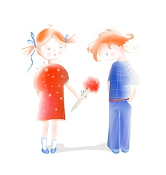 A Little Girl Presenting Flowers to a Boy vector image vector image
