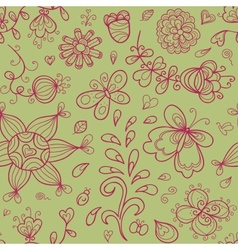 Abstract doodle floral shapes vector image vector image