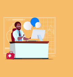 African american doctor sitting at computer online vector