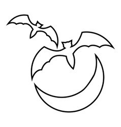 Bats and moon icon outline style vector