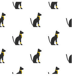 Black sitting egyptian cat pattern seamless vector