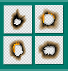 Burnt piece burned faded paper hole realistic fire vector