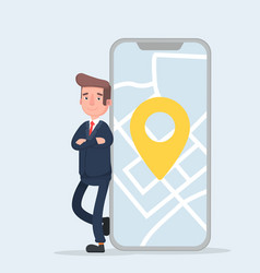 businessman and smartphone with map on the screen vector image vector image