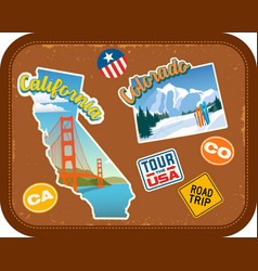 california and colorado travel stickers vector image