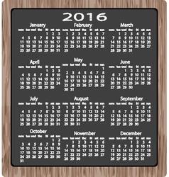 Chalk on blackboard calendar 2016 vector