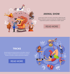 circus cartoon colored banner set vector image vector image