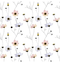 Delicate flowers seamless pattern on white vector image vector image
