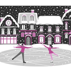Figure skating greeting card vector