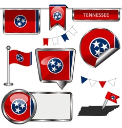 Glossy icons with Tennessean flag vector image