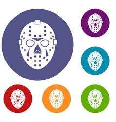 Goalkeeper mask icons set vector