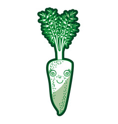 green silhouette of carrot caricature with stem vector image