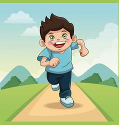 happy children day cartoon boy with landscape vector image