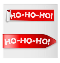 ho-ho-ho red label ribbons vector image