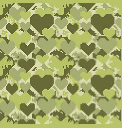 Military pixelate seamless pattern with heart vector