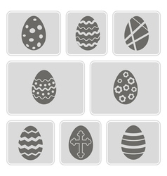 Monochrome icons with easter eggs vector