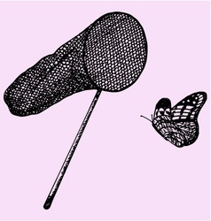 net and butterfly vector image