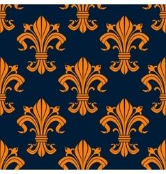 Orange floral fleur-de-lis seamless pattern vector