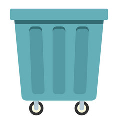 Outdoor blue trash can icon isolated vector