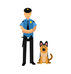 policeman character in a blue uniform standing vector image vector image