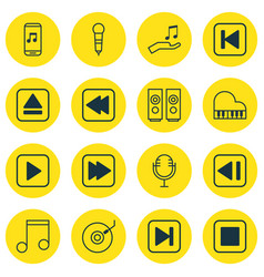 Set of 16 audio icons includes skip song start vector