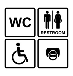 Set of black wc icons on white background in frame vector image
