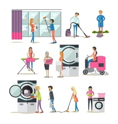 set of cleaning people characters isolated vector image vector image