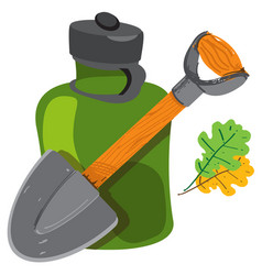Shovel and glass jar objects traveler hunter vector