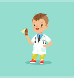 smiling little kid in doctor s uniform and vector image