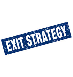 Square grunge blue exit strategy stamp vector