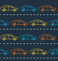 Striped seamless pattern with cars vector