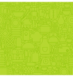 Thin Green Kitchen Appliances and Cooking Line vector image vector image