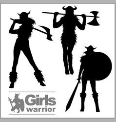 vikings warriors nordic girl scandinavian woman vector image