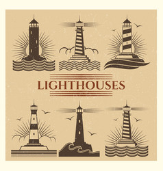 vintage lighthouses logos set vector image