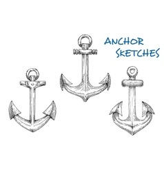 Vintage sketched sea anchors set vector image vector image
