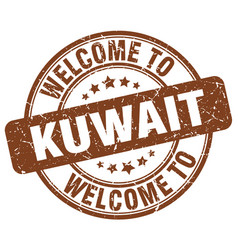 Welcome to kuwait brown round vintage stamp vector