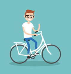 Young nerd riding a bike and waving his hand vector