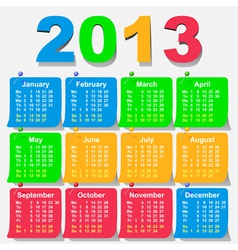 calendar 2013 week starts with monday vector image
