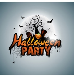 Halloween party design with pumpkin and moon vector